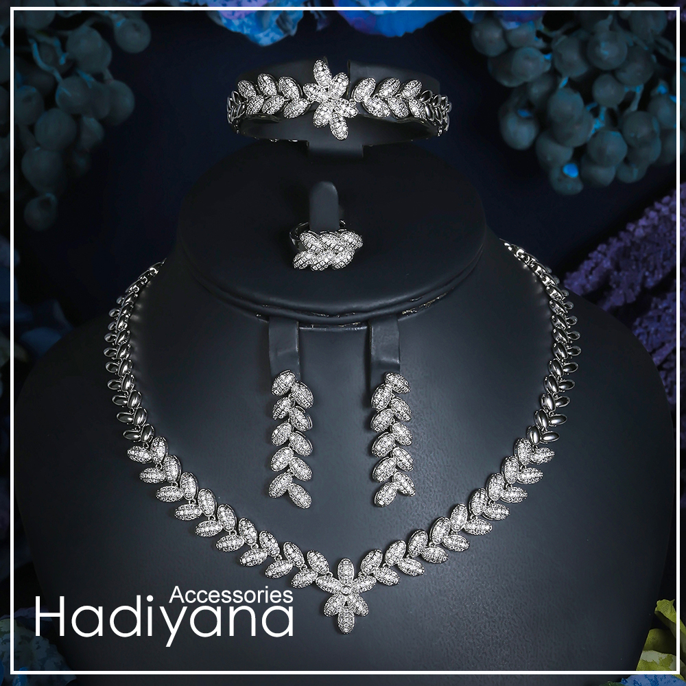 Hadiyana Cubic Zircon Crystal 4pcs Jewelry Leaf Shape Chain Bridal Set For Women Wedding Party African
