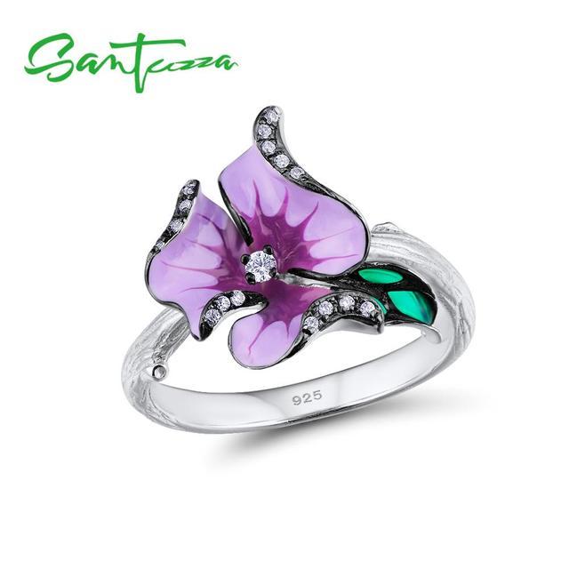 SANTUZZA srebrny pierścionek dla kobiet 925 srebro elegancki fioletowym kwiatem akcesoria ślubne biżuteria Handmade emalia