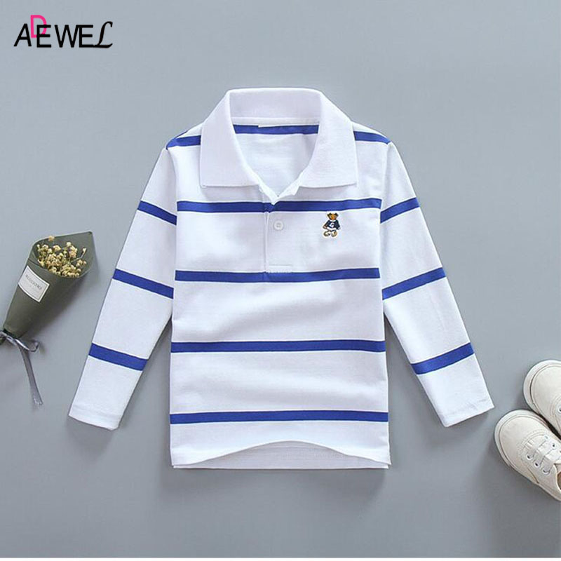 ADEWEL Children's Long-sleeved Polo Shirt Striped 2018 Spring Autumn Boy Cotton Top Kid Polos Lapel Shirts Toddler Teens Clothes chest pocket slim lapel mens polos