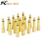 10pcs Gold plated MONO jack 6.35 Microphone plug audio connector 6.35mm male plug to jack 3.5mm mono female socket