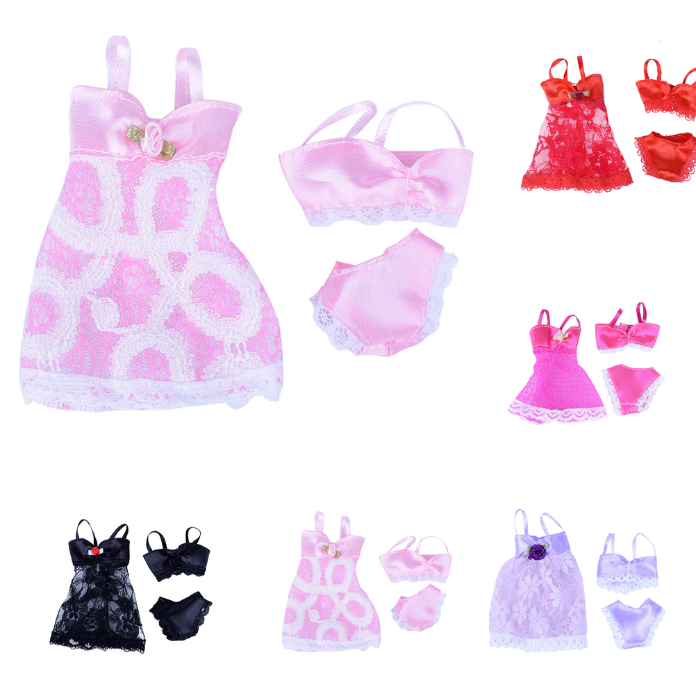 1 Set=3pcs( Dress + Bra + Underwear ) Sexy swimwear Lace Night dress For Barbie Doll Pajamas Lingerie clothes Dolls Accessories white sexy lace detail self tie waisted pajamas