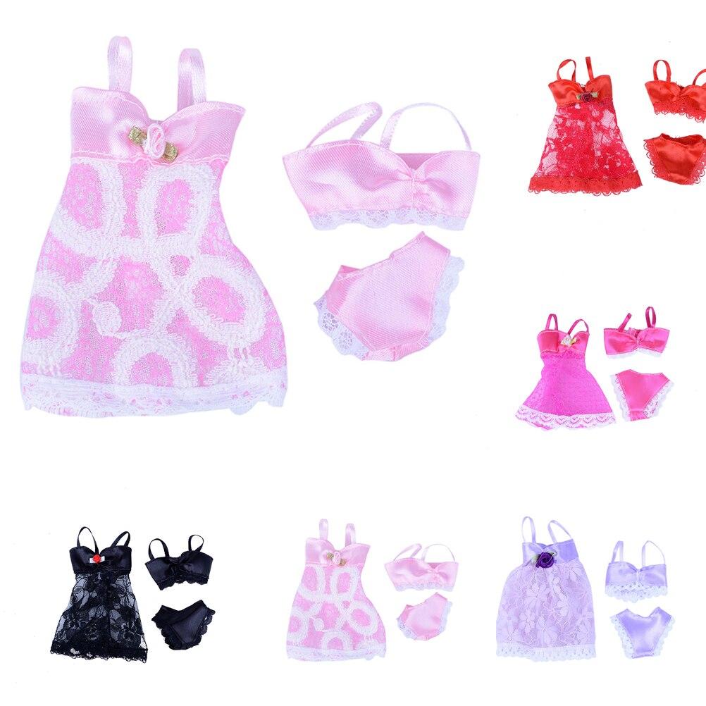 1 Set=3pcs( Dress + Bra + Underwear ) Sexy swimwear Lace Night dress For Barbie Doll Pajamas Lingerie clothes Dolls Accessories lace sheer lingerie bra set