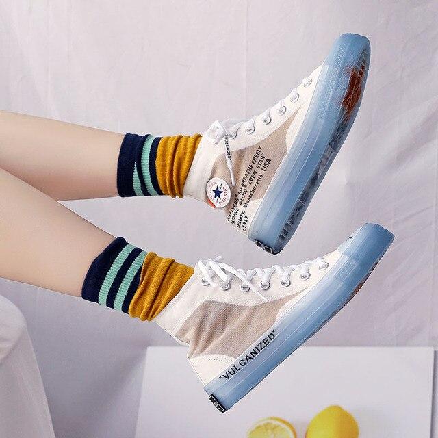 Kadın Ayakkabı Sonbahar Trend Tarzı Unisex Ayakkabı Yüksek Üstleri Şeffaf Taban Jöle Taban Serin Moda Severler rahat ayakkabılar 35-44