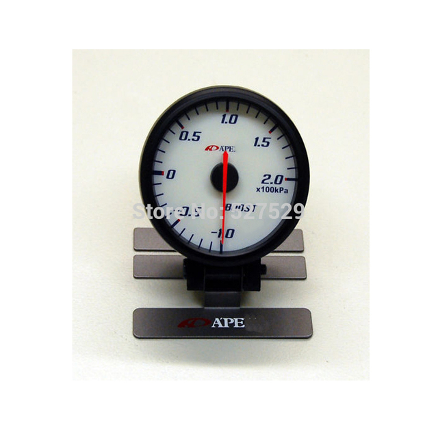 Apex* Gauge Turbo Boost Gauge Meter Racing Car Auto Gauge 60mm 2.5 Inch With Sensor Meter Red & White Light