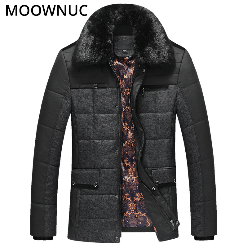 Woollen Business Casual Men's Coat Male Fur collar Autumn Winter Thick Overcoat Fashion Blends Brand Clothing MOOWNUC Splicing