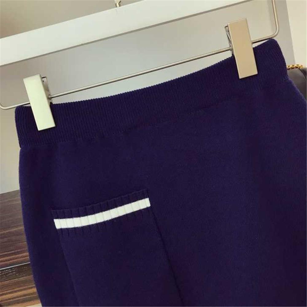 Kaki Pièces Cardigan Tricot bleu Deux Automne Haute Taille 2018 Hiver En Rond Rayée Col Poitrine Femmes Tenues Jupe Unique Tricoté Loisirs Sxg1THz
