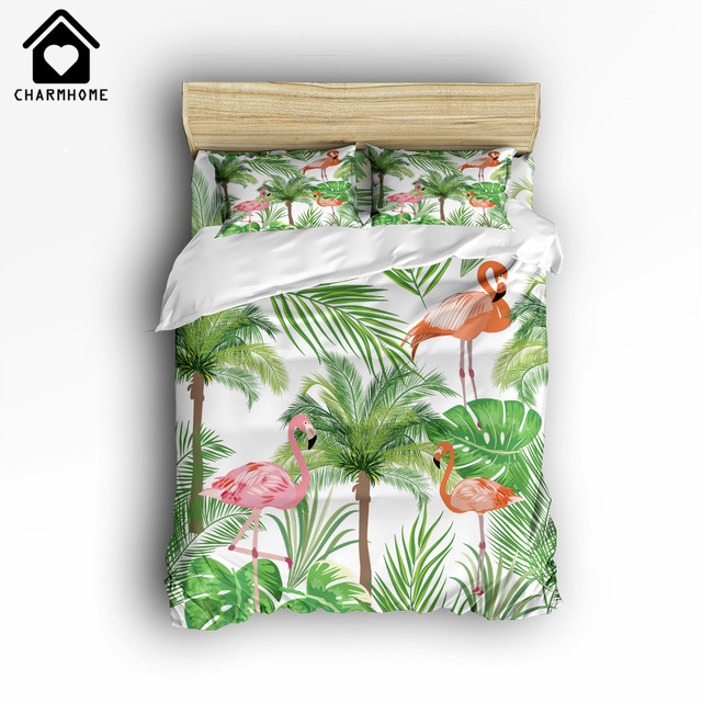 CHARMHOME Flamingo With Tropical Palm Tree Plant Pattern Bedding Sets 4pcs  Duvet Cover Bed Sheet Pillowcases