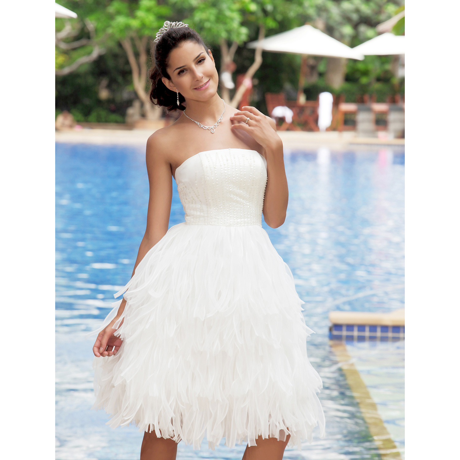 Backless Knee Length Wedding Dress