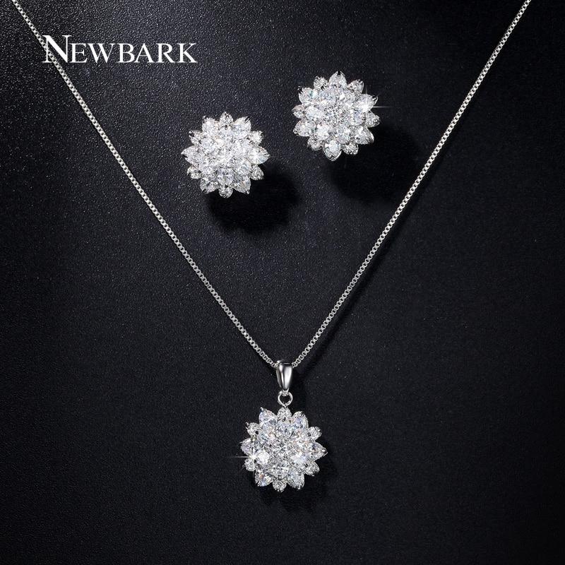 font b NEWBARK b font Love Lotus Jewelry Set Flower Cluster Zirconia Pendant Chain font