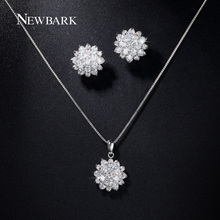 NEWBARK Silver Color Lotus Stud Earrings Necklace Set Paved Cubic Zirconia Flower Earrings Jewelry Stes for