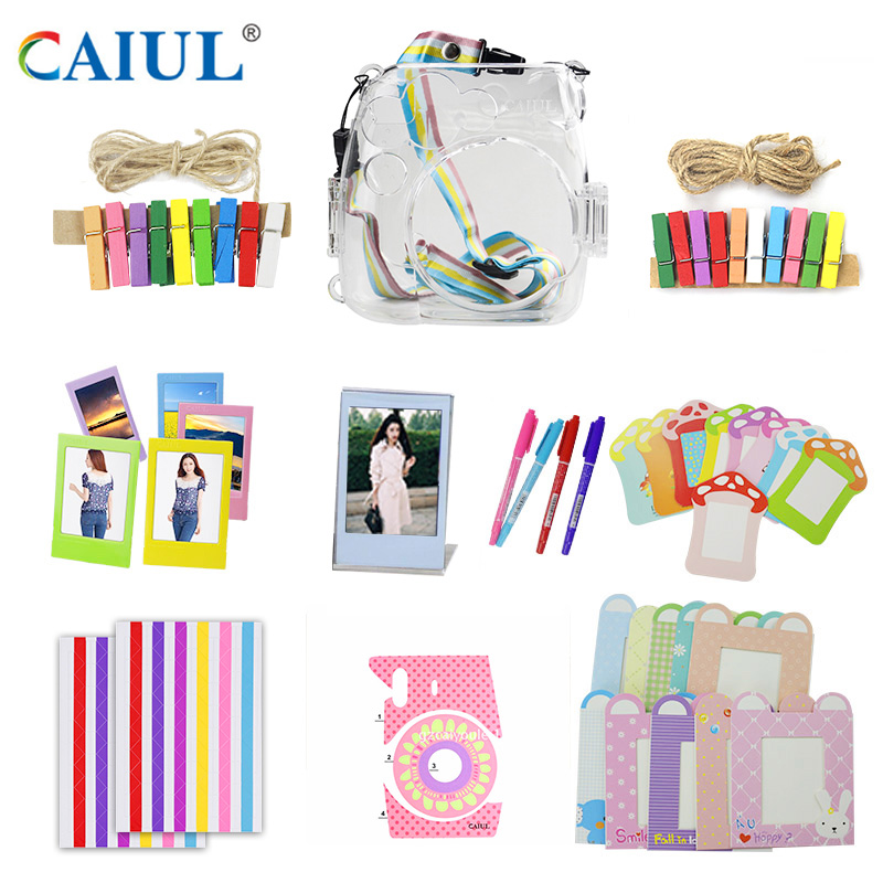Fujifilm Instax Mini 8 Box Camera Accessories Transparent case Bag Photo Frame Camers Stickers Clip with