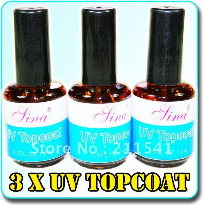3 Bottles Lina UV TOP COAT Acrylic Nail Art Gel Polish 0.5FL 14ML ...