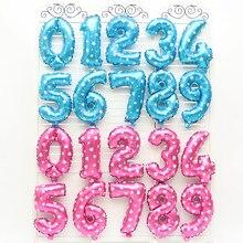 1 pçs 16 32 polegada número balão azul vermelho rosa número balões folha de alumínio chuveiro do bebê feliz aniversário festa casamento