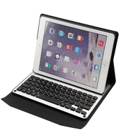 Ultra Slim PU Leather Case Removable 7 Colors LED Backlight Aluminum Bluetooth Keyboard For Apple Ipad