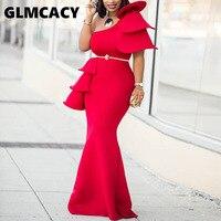 Women One Shoulder Ruffle Red Ankara Irregular Dresses Prom Party Dress Plus Size Women Dress African Formal Dresses
