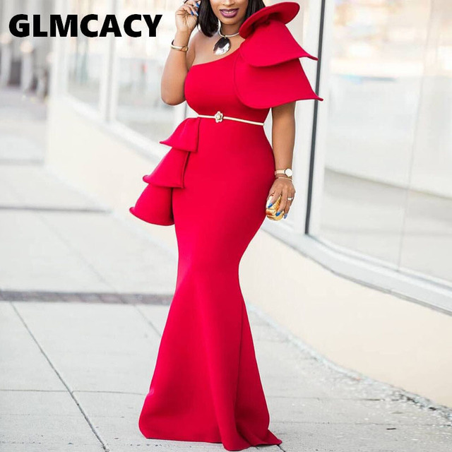 Women One Shoulder Ruffle Red Ankara Irregular Dresses Prom Party Dress Plus Size Women Dress African Formal Dresses