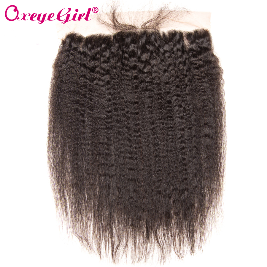 13 x4 Ear To Ear Lace Front Brazilian Kinky Straight Hair Bundle Lace Frontal Closure With