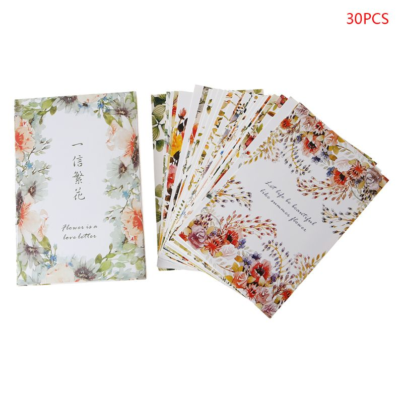 30 Sheets Flowers Paintings Retro Vintage Postcard New Year Christmas Gift Card Wish Poster Cards Girls Gift