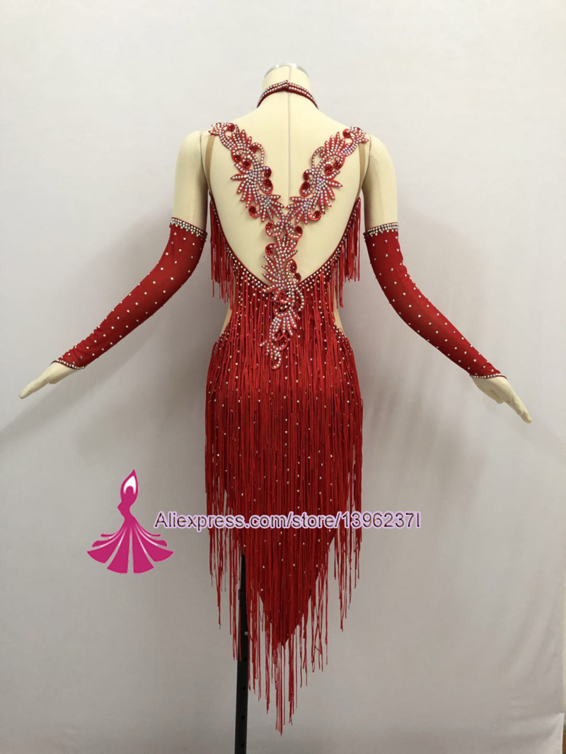 Image 3 - Red Latin Competition Dance Skirt Women 2019 New Custom Made Sexy Sumba Rumba Tassel Dancing Wear Adult Standard Latin Dress-in Latin from Novelty & Special Use