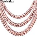Trendsmax 5/7/8mm curb chain link mens gnm76 cadeia rose gold filled colar personalizado de jóias por atacado