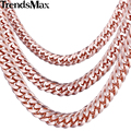 Trendsmax 5/7/8mm curb chain link mens rose gold filled collar de cadena personalizada al por mayor de joyería gnm76