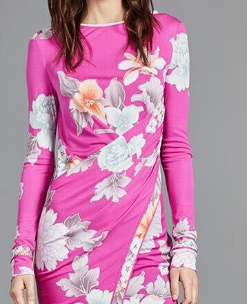 Women's new  fashion  pink printing knitting slim dress long sleeves-in Dresses from Women's Clothing    1