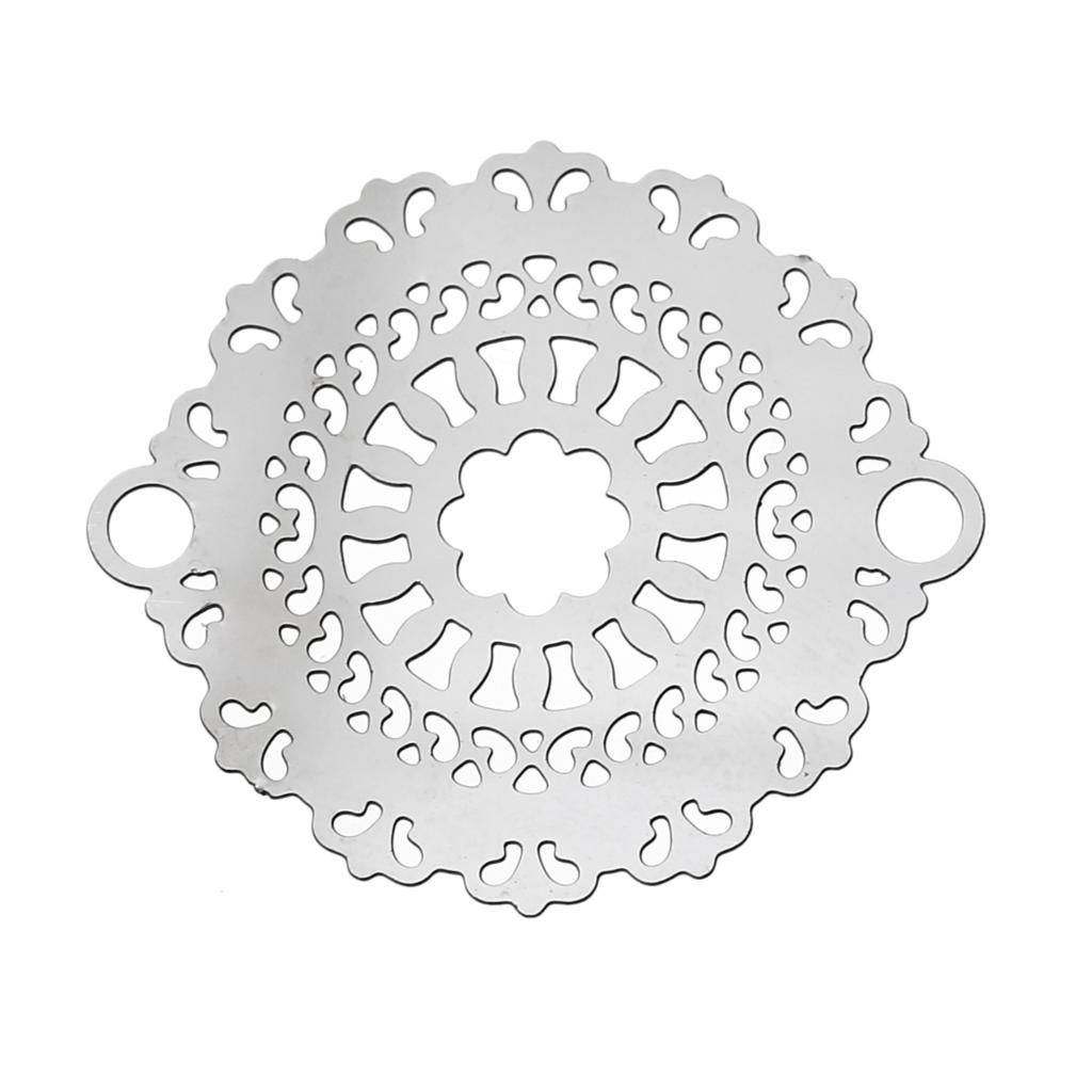 """8SEASONS Stainless Steel Connectors Findings Round Silver Tone Flower Hollow """"31mm(<font><b>1</b></font> <font><b>2</b></font>/8"""")<font><b>x</b></font> 27mm ,Thickness:0.3mm,<font><b>20</b></font> PCs"""