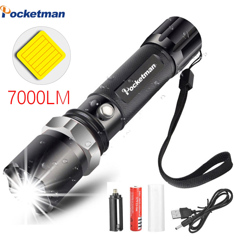 Portable High Bright XM-L T6 Aluminum USB charging Adjustable Led Flashlight Torch Tactical light 18650 Rechargeable Battery
