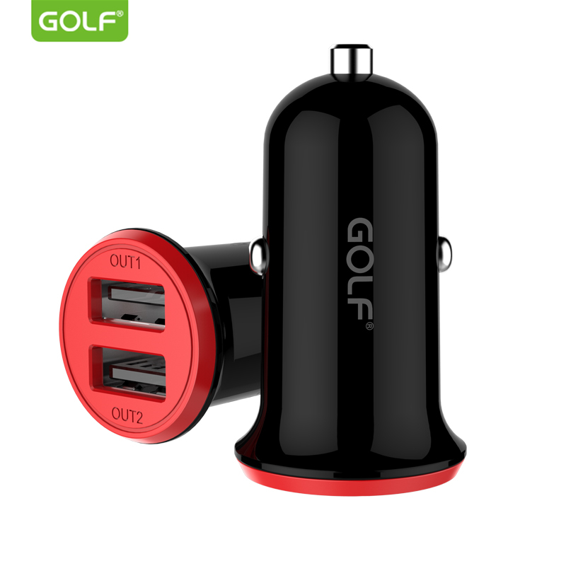 GOLF 2.4A Dual Output USB Car Charger Universal Auto Charging Power Adapter for iPhone Samsung LG Smart Mobile Phone Car Charger