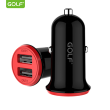 цена на GOLF 2.4A Dual Output USB Car Charger Universal Auto Charging Power Adapter for iPhone Samsung LG Smart Mobile Phone Car Charger