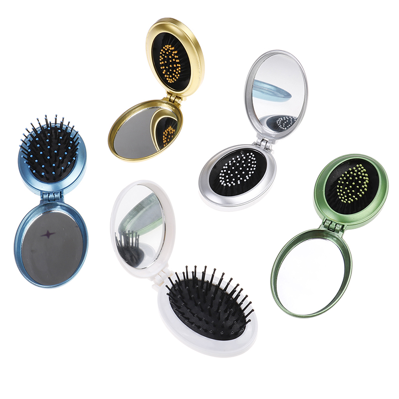 Portable Round Pocket Small Size Travel Massage Folding Comb Girl Hair Brush With Mirror Styling Tools 5 Colors