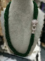 10 reihen grüner jade stein perlen roundel 4*2mm halskette 19 zoll und leopard verschluss großhandel perlen