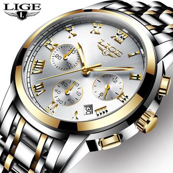 LIGE męskie zegarki Top luksusowa marka pełna stal wodoodporny Sport zegarek kwarcowy mężczyźni moda data zegar chronograf Relogio Masculino tanie i dobre opinie 21cm QUARTZ 3Bar Przycisk ukryte zapięcie STAINLESS STEEL 12mm Hardlex Kwarcowe Zegarki Na Rękę Papier 42mm LIGE 9810