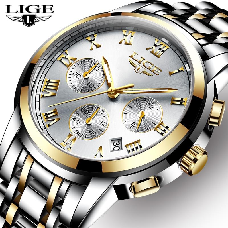 LIGE męskie zegarki Top luksusowa marka pełna stal wodoodporny Sport zegarek kwarcowy mężczyźni moda data zegar chronograf Relogio Masculino