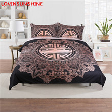 Gold Black Boho Soft Microfiber Duvet Cover Bedding Set Twin/Full/King/Queen Size Bedding Bed linen Set(China)