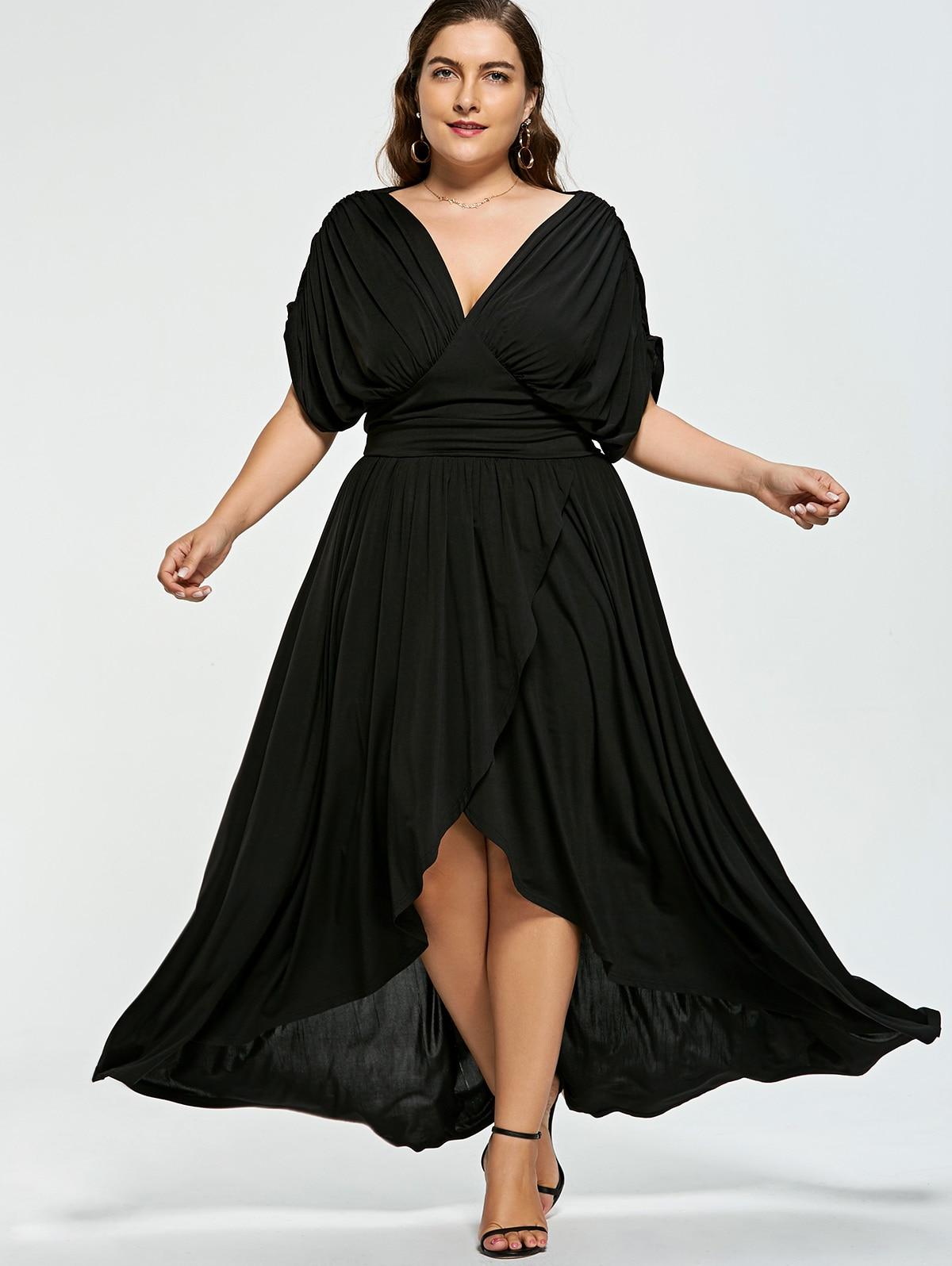 Wipalo Plus Size V Neck Women Summer Dress Short Sleeve ...