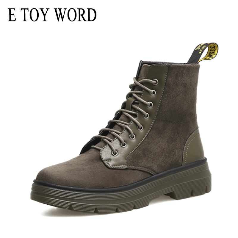E TOY WORD Fashion Suede Autumn Ladies Martin Ankle Boots Flat with Vintage British Style Lace Up Chelsea Boots Women Shoes martine women ankle boots flat with chelsea boots for ladies spring and autumn female suede leather slip on fashion boots