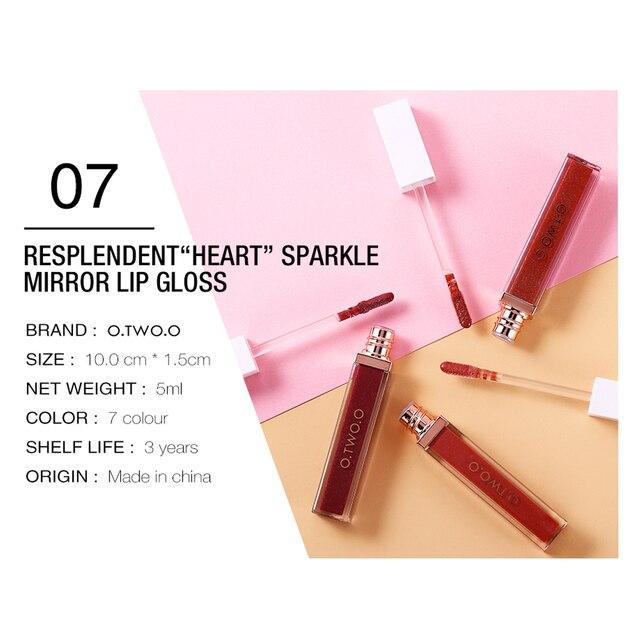 O.TWO.O Mirror Glass Lip Gloss Moisturizing Light Gel No Sticky Shimmer Lipstick Liquid Makeup 7 Color Lipgloss maquiagem 2