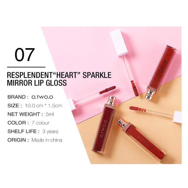O TWO O Pink Shimmer Lipstick Liquid No Sticky Texture Pigment Nude Lip Gloss Colors