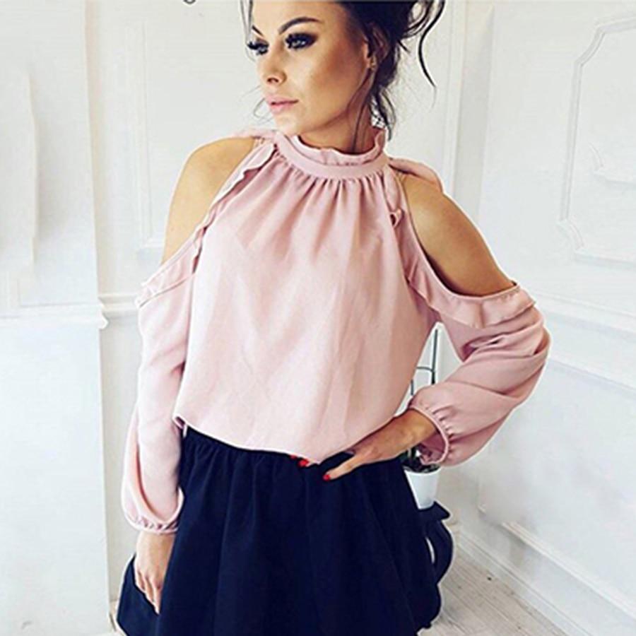 9836c93a014d Sexy hombro camisa de otoño verano Casual de manga larga con volantes Rosa  Borgoña camisa las mujeres nueva moda sólido blusas de alta calidad
