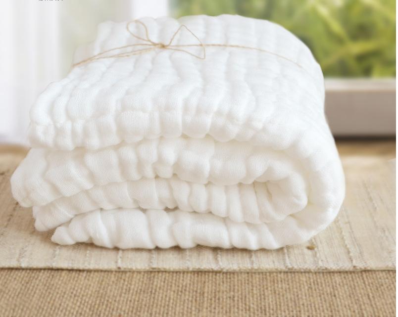 2017 New Super Soft White Print 100% Muslin Cotton Gauze 6 Layers Baby Bath Towel Baby Hand Towel Newborn Handkerchief