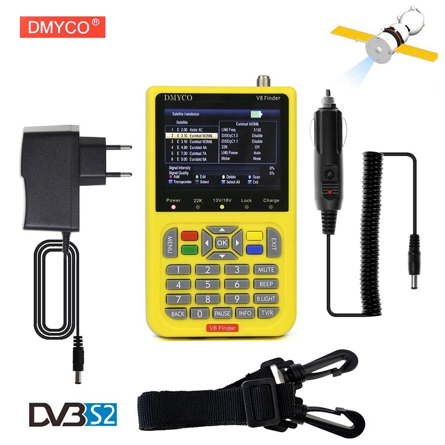 DMYCO V8 Finder Digital TV SatFinder DVB-S2 FTA Satellite Finder Meter With LCD Screen Display HD MPEG4 DVB-S/S2 Satelite Finder original satlink ws 6951 dvb s s2 hd satellite finder with mpeg 2 mpeg 4 compliant and backlight satlink 6951 meter freeshipping