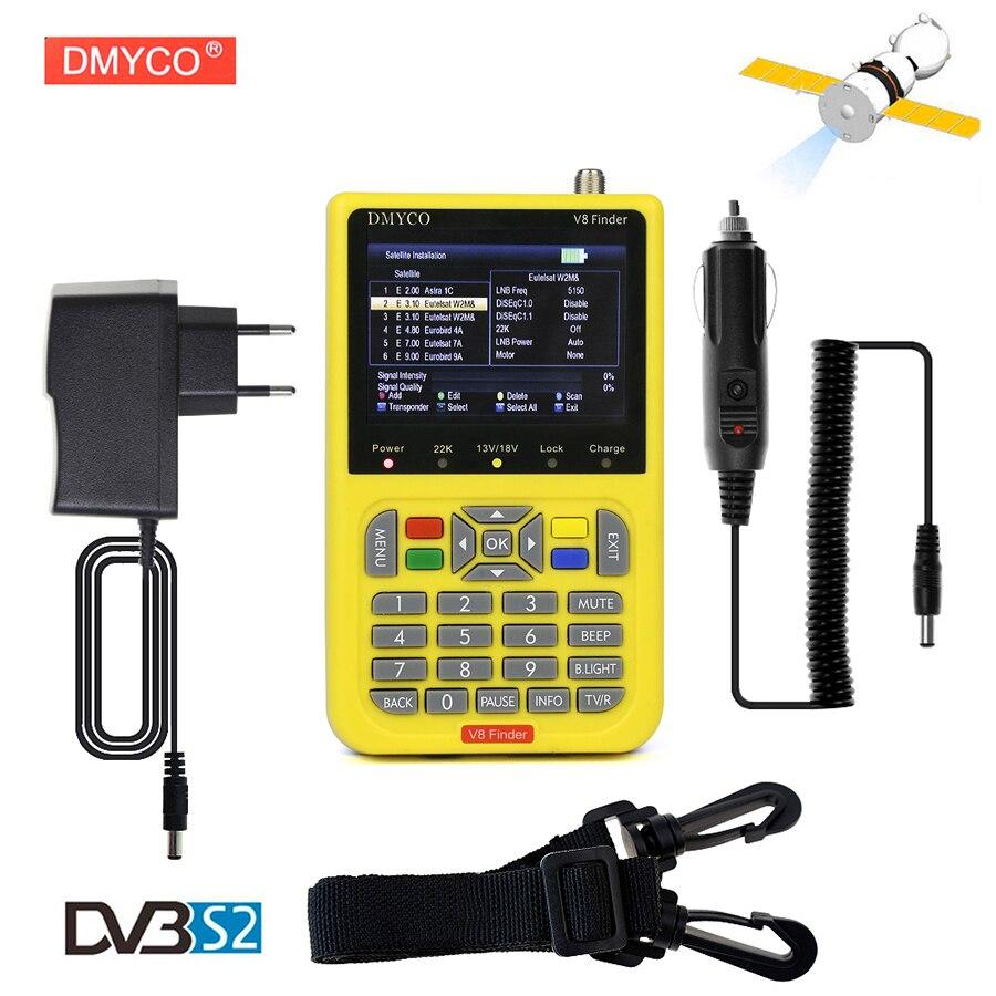 DMYCO V8 Finder Numérique TV SatFinder DVB-S2 FTA Satellite Finder Compteur Avec LCD Écran D'affichage HD MPEG4 DVB-S/S2 satellite Finder