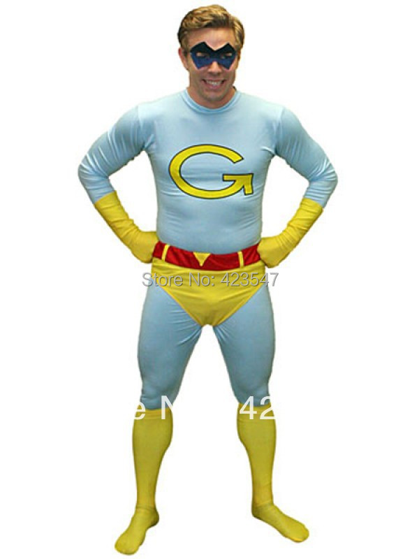 Lake Blue And Yellow Saturday Night Live Gary Spandex Superhero Costume Party Halloween carnival costumes
