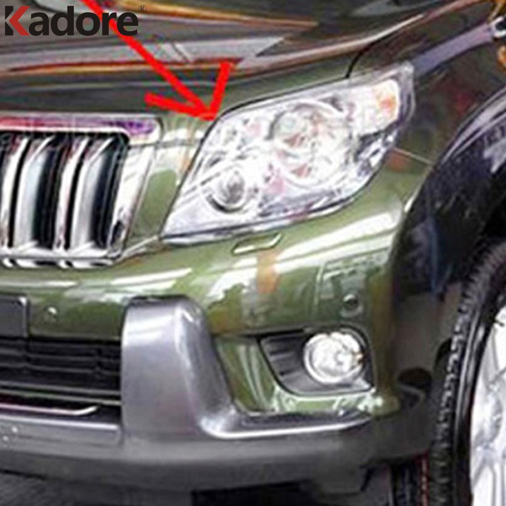 For Toyota Prado FJ150 FJ 150 2010 2011 2012 2013 ABS Chrome Head Lamp Hood Trim Headlight Cover Car Auto Exterior Accessories-in Chromium Styling from Automobiles & Motorcycles    1