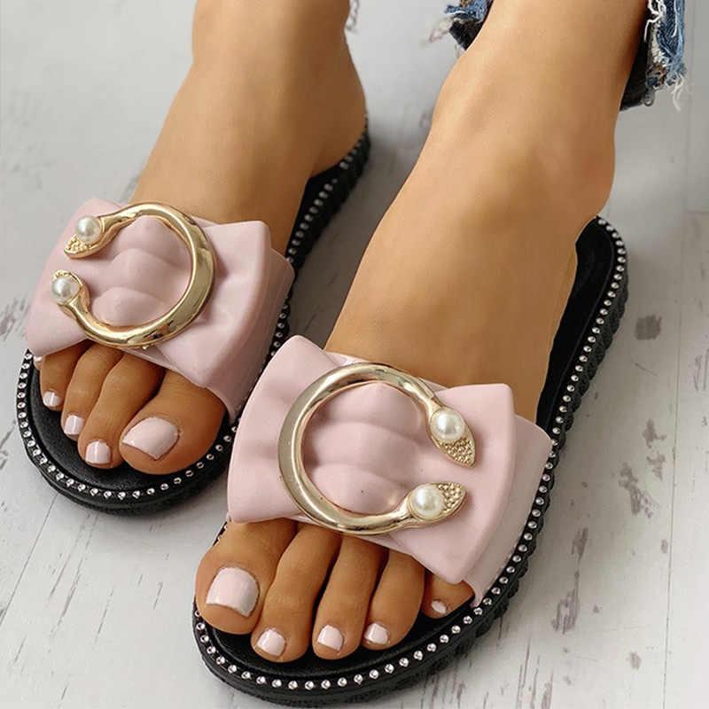 Kadın yazlık terlik Bayanlar Papyon Inci Düz PU Rahat Kaymaz Ayakkabı Kadın Moda Platformu Yumuşak Dikiş Plaj Slaytlar