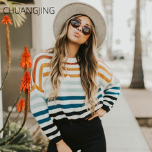 Fashion Autumn Winter Pullover Knitted Sweater Women Casual O-neck Long Sleeve Striped Sweater Ladies Sweet Streetwear Sweater