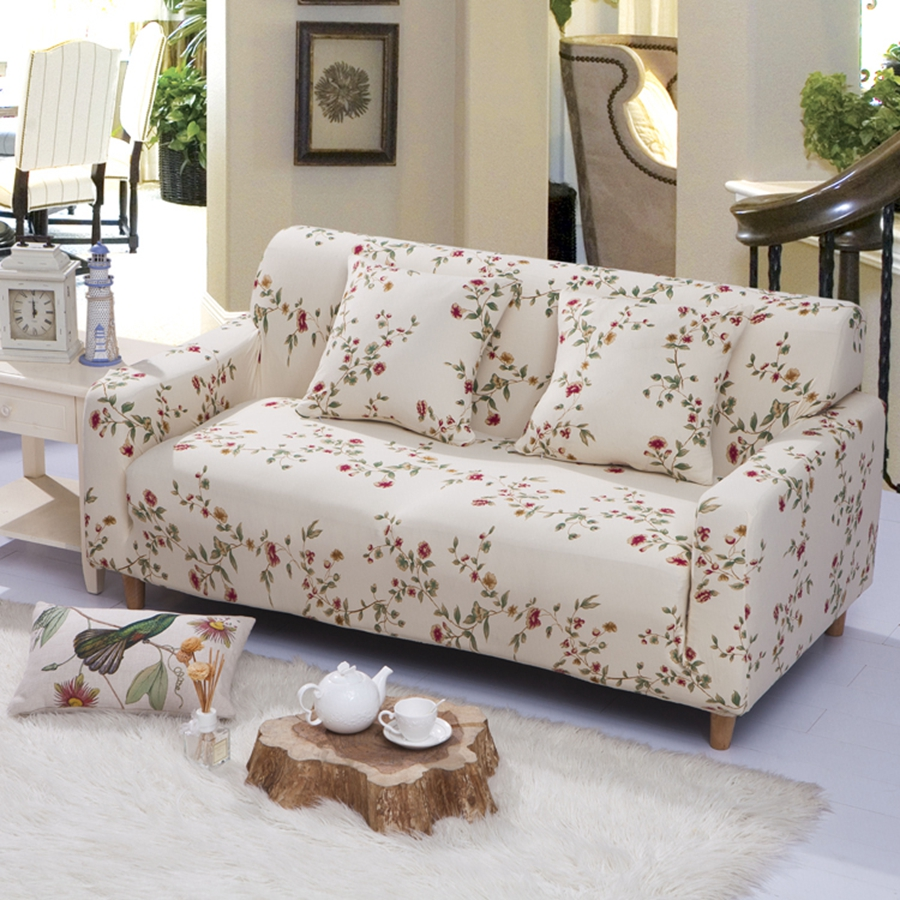 Universal Corner Shaped Sofa Cover Small Flowers Brief Style Soft Stretch  Sofa Cover L Shape 1/2/3/4 Seater Sofa Slipcover Warm