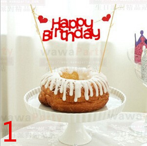 1pcs Happy Birthday Flag Cake Cupcake Topper Food Picks Cake