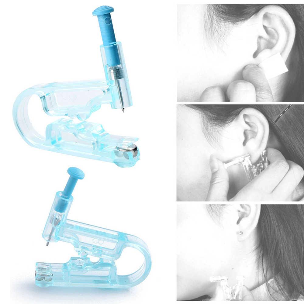 1 pc indolor descartável seguro estéril corpo piercing mulheres sem dor orelha piercing kit corpo orelha piercing arma ferramenta com parafuso prisioneiro brinco